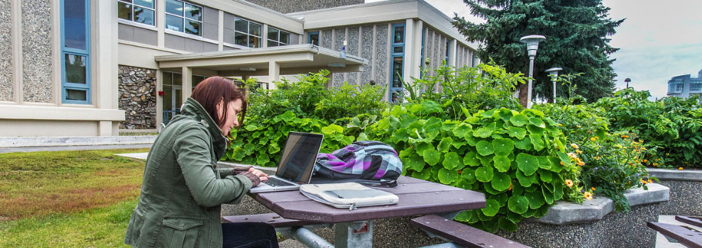UAF students works on her laptop on a table outside on the Fairbanks campus West Ridge