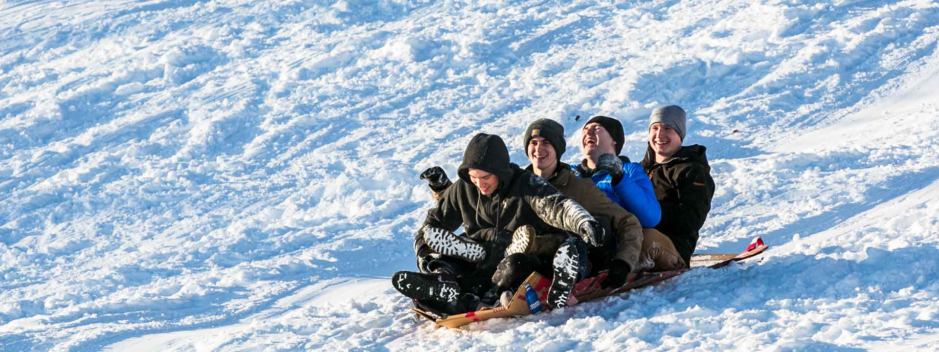 UAF students sledding on the Fairbanks campus