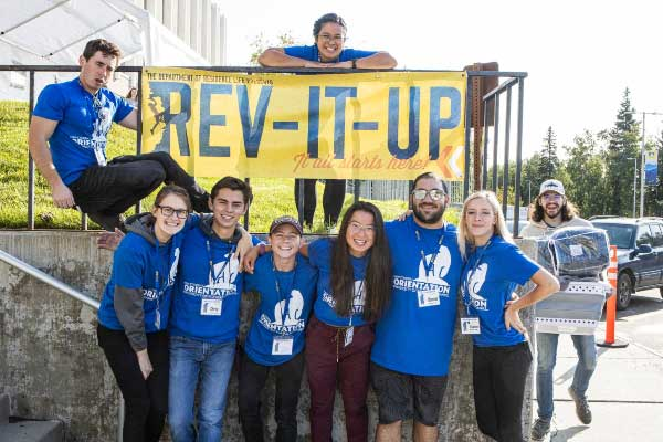 UAF Student Ambassadors pose together during the Rev It Up move-in day on the Fairbanks campus