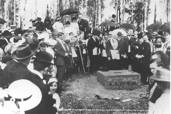 Historical Photo, placing the Cornerstone of the Alaska college of mines