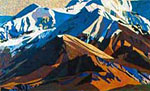 Painting of mountains by Kesler Woodward