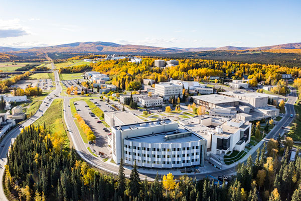 Aerial photo of UAF main Fairbanks campus