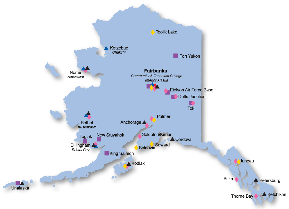 Map of UAF locations across Alaska