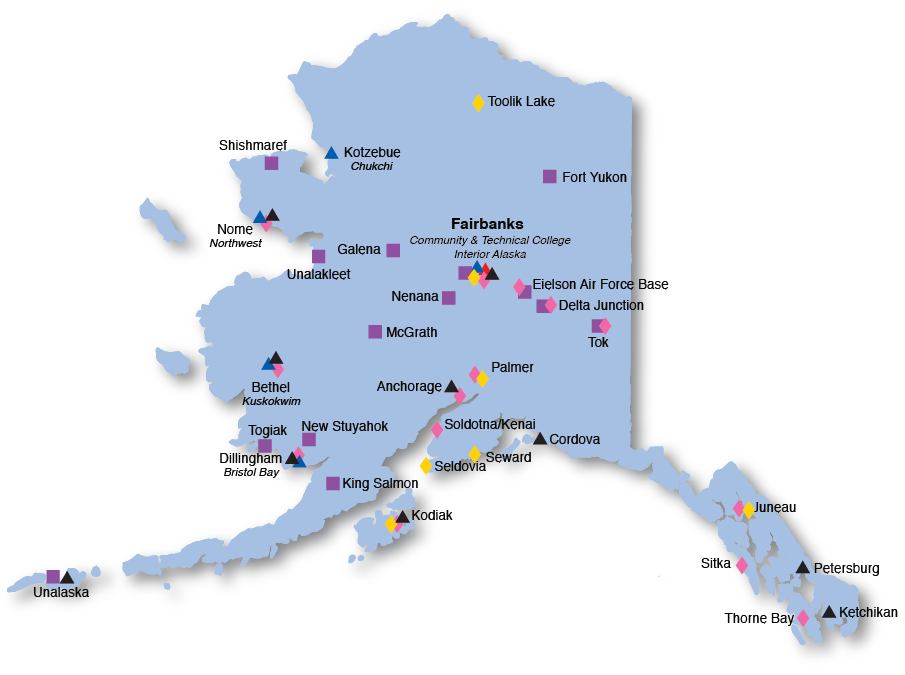 Fort Yukon Alaska Map.Uaf Locations Across Alaska Campus Map And Visitors Guide