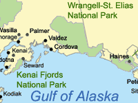 Map showing general location of KEFJ and WRST in Alaska