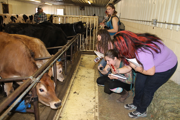 University of Alaska Fairbanks students visit the Northern Lights Dairy in Delta Junction as part of a natural resources management field tour.
