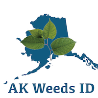Alaska Weeds ID Logo - State of Alaska with leaves overlay