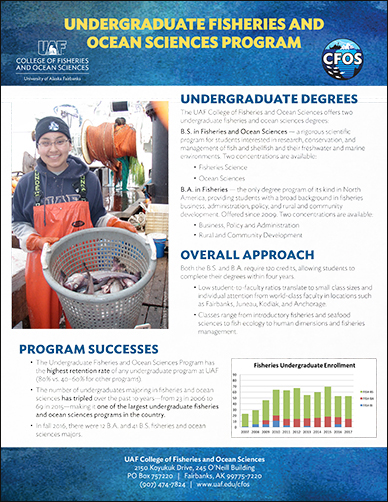 CFOS undergraduate fisheries and ocean sciences program flyer