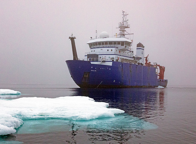 R/V Sikuliaq on the ocean. Photo by Roger Topp