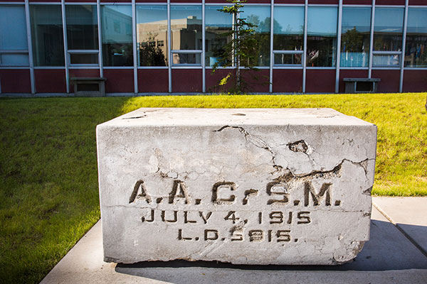 The AACSM concrete cornerstone placed on the UAF campus