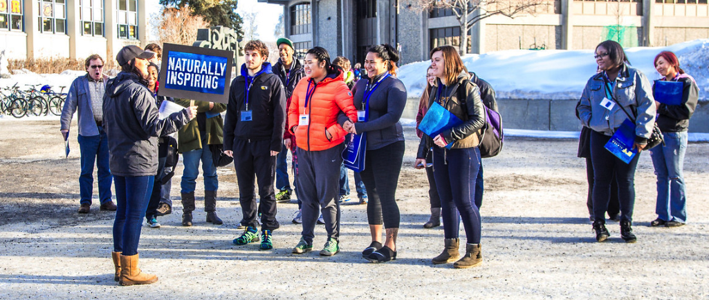 Prospective UAF students tour the campus on preview day