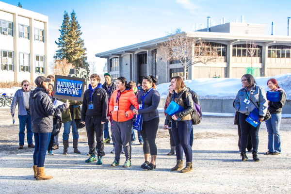 Prospective student tour the Fairbanks campus
