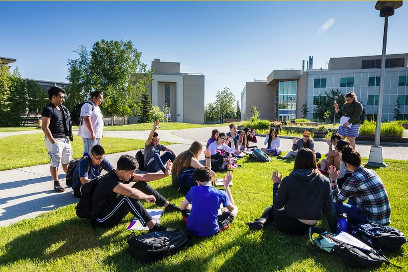 Students enjoy and outdoor summer class on the UAF campus