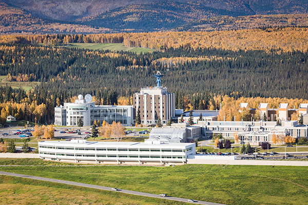 Aerial view of the west ridge of the Fairbanks campus