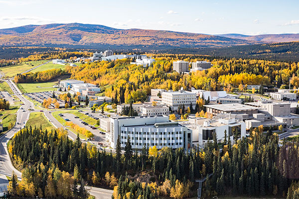 Aerial view of the east side of the Fairbanks campus