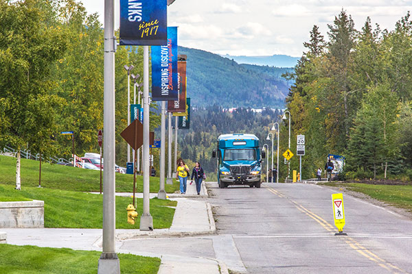 UAF campus shuttle and street banners