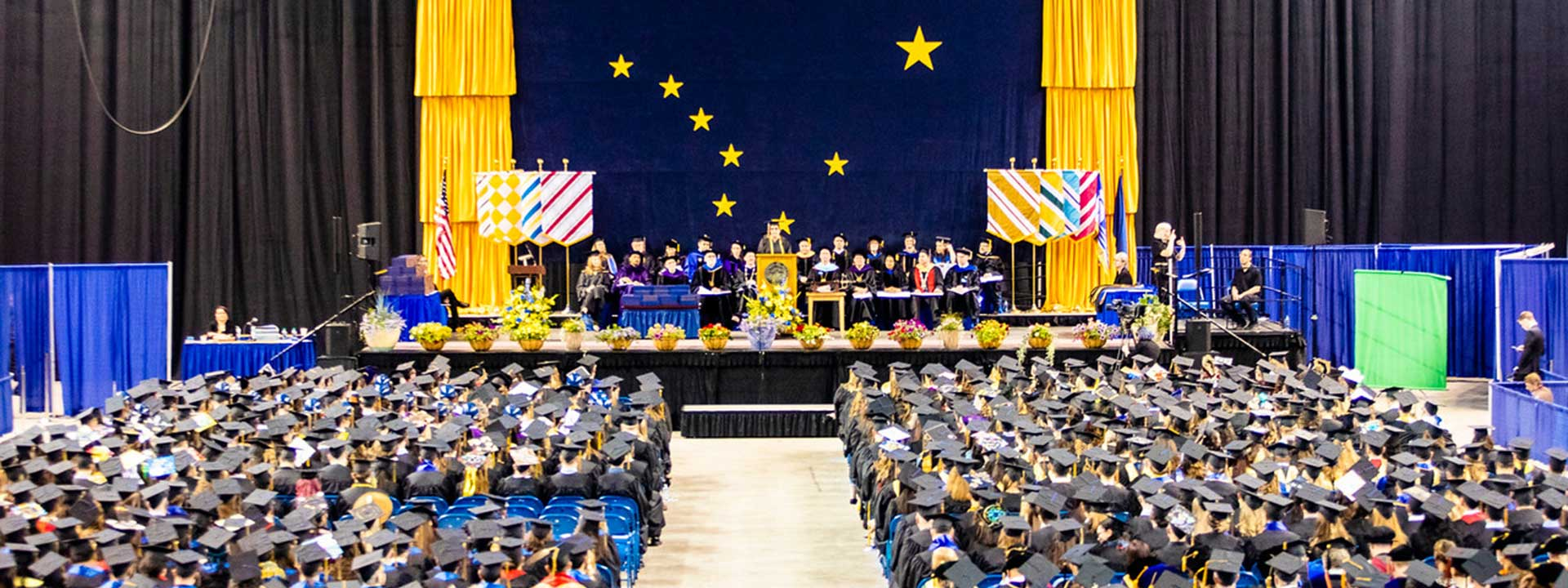A panoramic view of the 2019 commencement ceremony at the Carlson Center