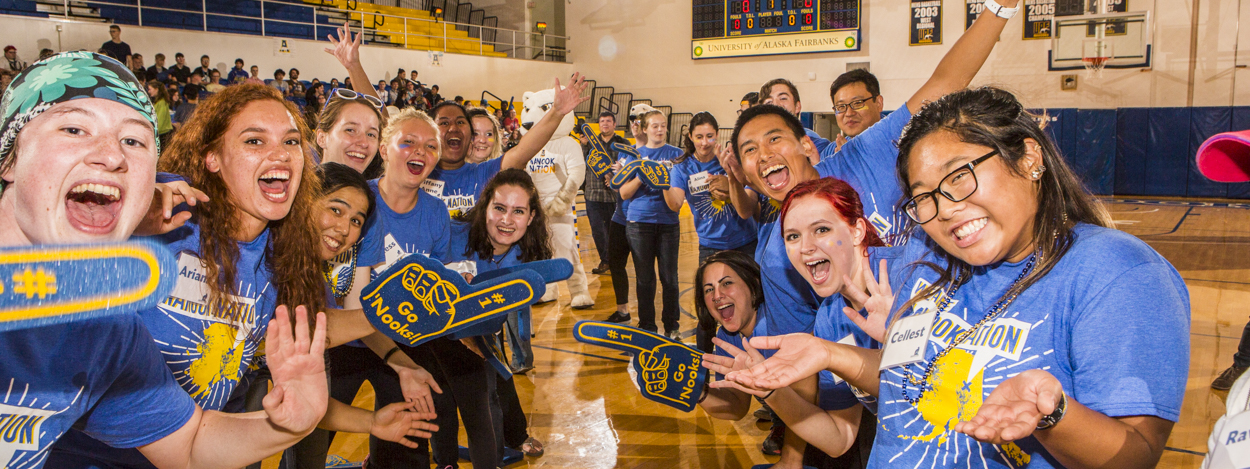 Orientation leaders welcome new students at the Patty Center gym