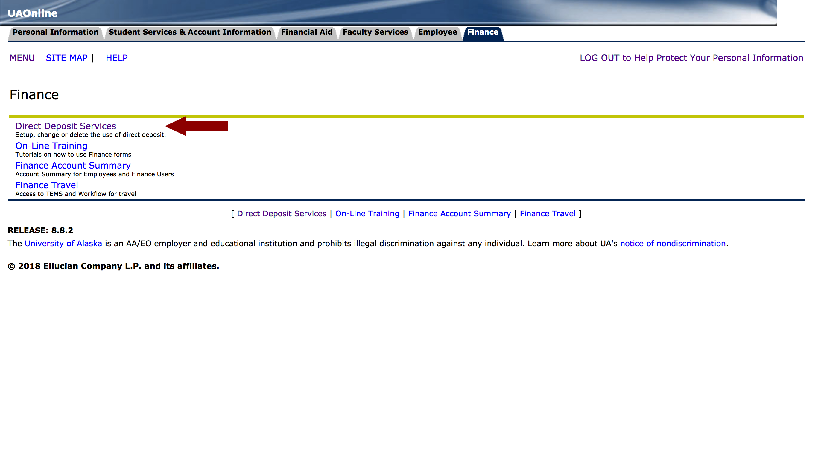 Screenshot of UAOnline Finance page with an arrow pointing to Direct Deposit Services menu button
