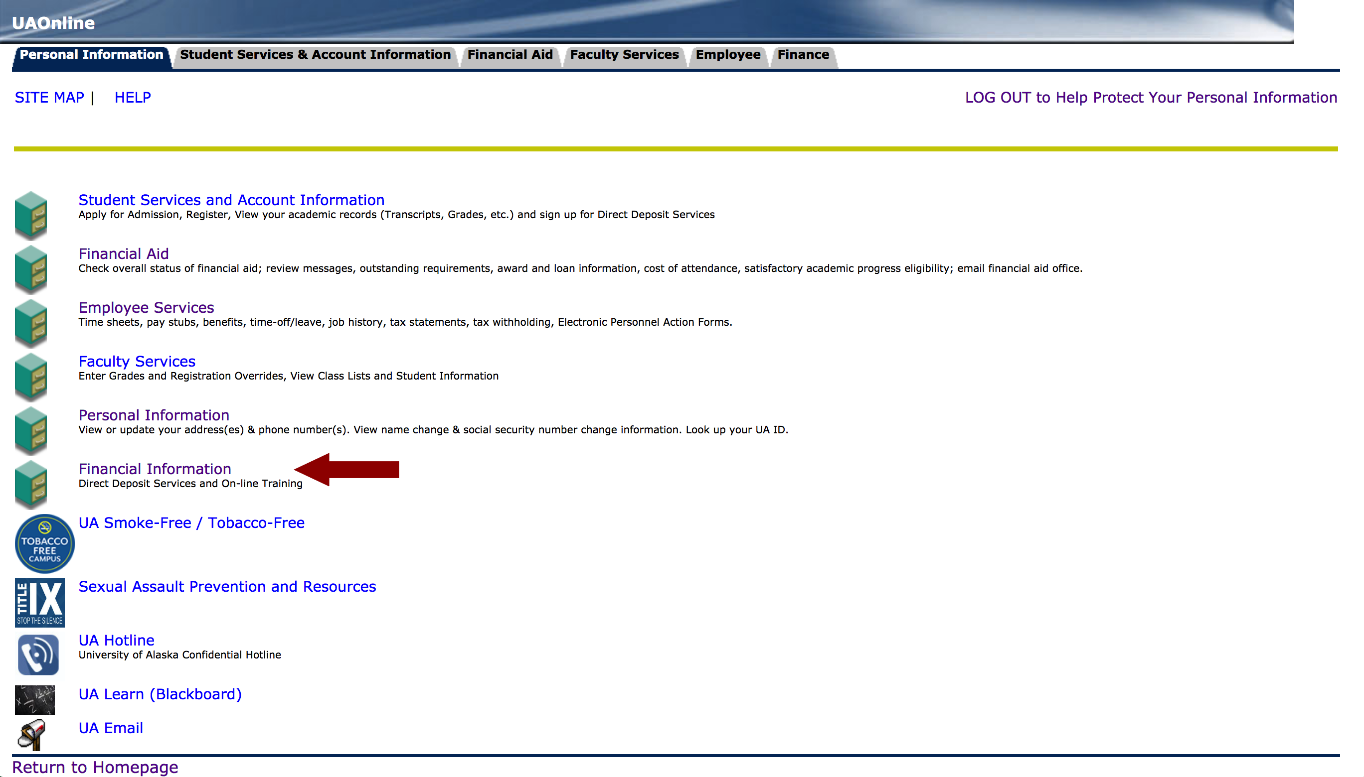 Screenshot of UAOnline Personal Information page with an arrow pointing to Financial Information menu button