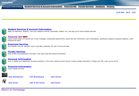 Screenshot of UAOnline Personal Information page with an arrow pointing to Financial Aid menu button