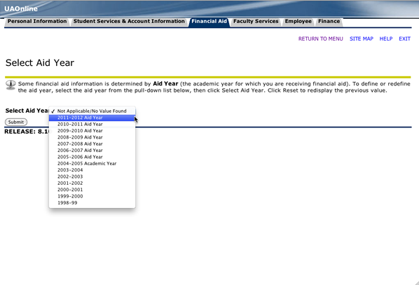 Screenshot of UAOnline Financial Aid Status page with an arrow pointing to academic year selection tool