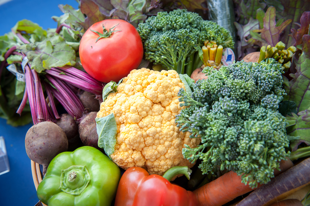 a mix of brightly colored vegetables