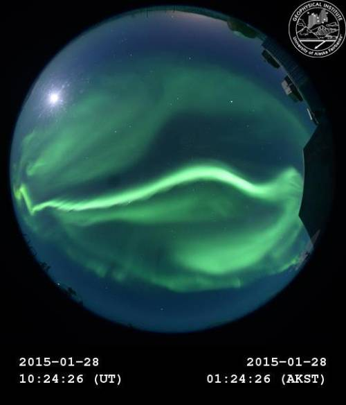 360 degree shot of the aurora directly overhead.