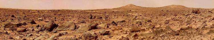 The rocky Martian landscape as seen from the surface.