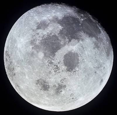 A detailed view of the full moon.