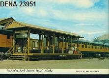 Color postcard of a train at McKinley Park Station.
