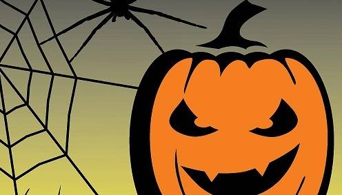 Drawing of a pumpkin, spider, and spider web above the Museum of the North logo.