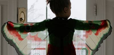 A child wearing a butterfly costume holds up their arms to display the butterfly wings.