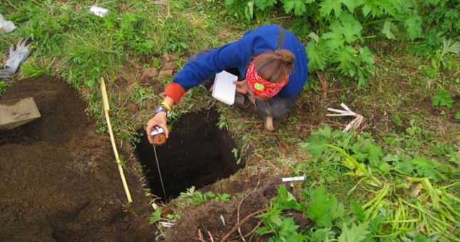 Jillian Richie excavates a test pit in an archaeological house feature on the Central Alaska Peninsula in 2011. Photo by Sam Coffman.
