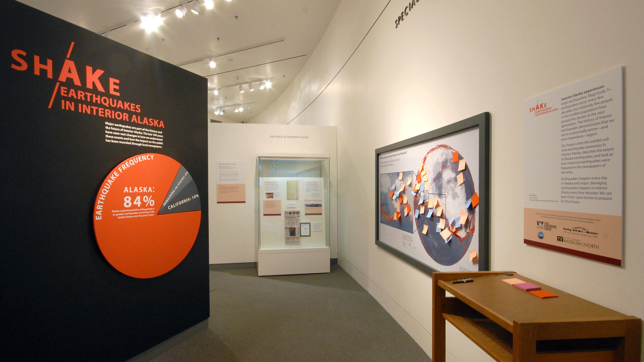Revisit the 2018-2019 UAMN special exhibition, ShAKe: Earthquakes in Interior Alaska. Entrance to the gallery.