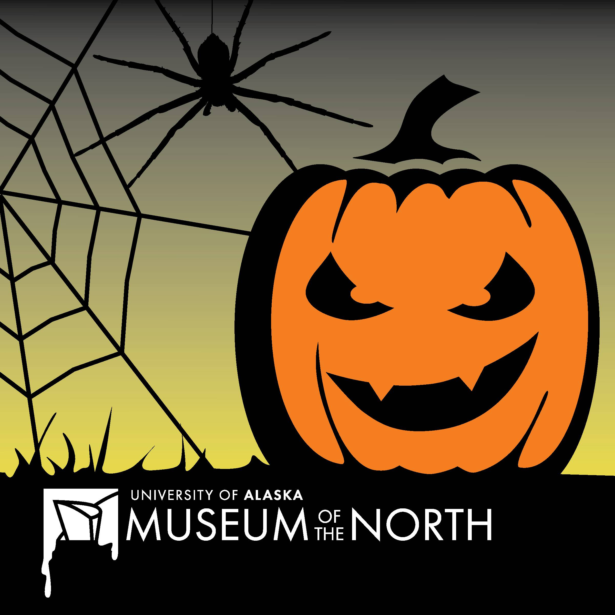 Logo with spider and jack-o-lantern