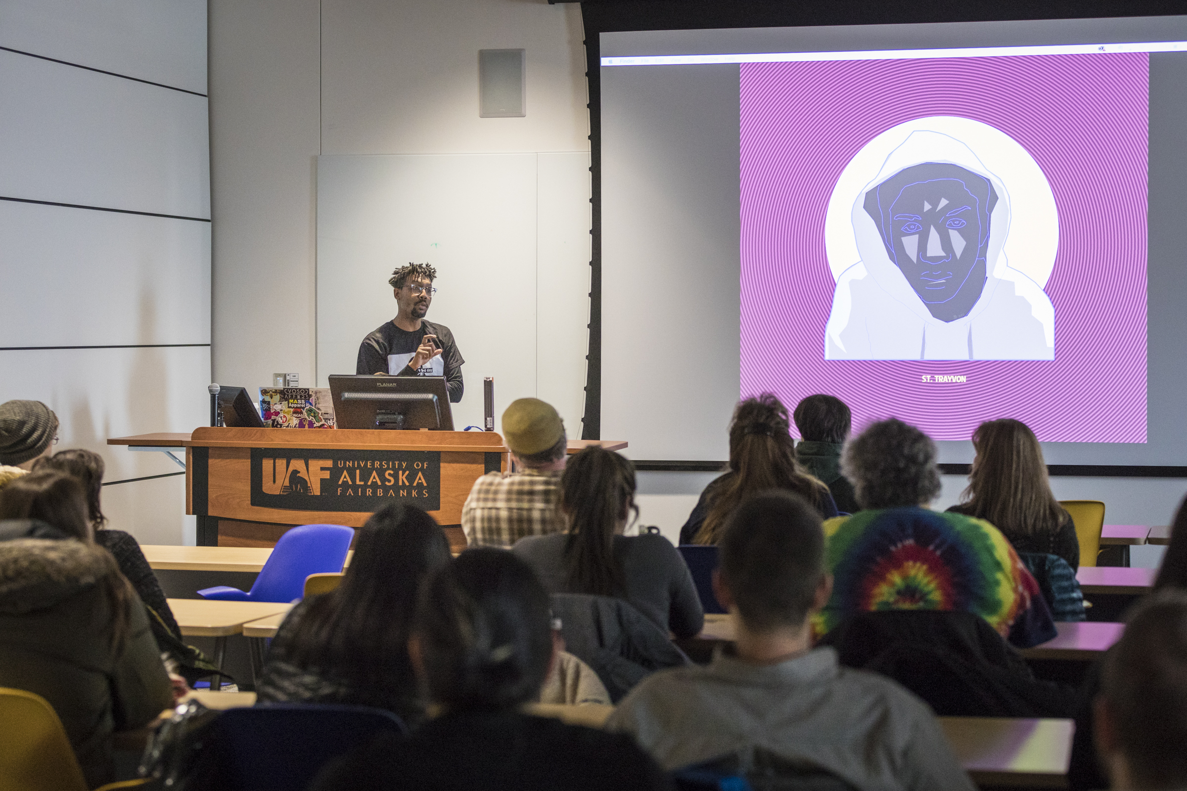 Artist and Black Lives Matter Activist Damon Davis giving a lecture in February 2018. Photo by UAF photographer JR Ancheta.