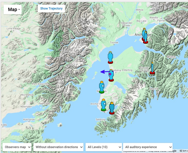 A map of Southcentral Alaska shows places where people reported seeing a fireball on Sept. 30, 2021.
