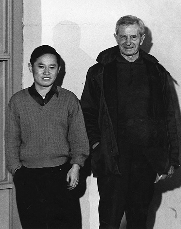 Two men in a black and white photo