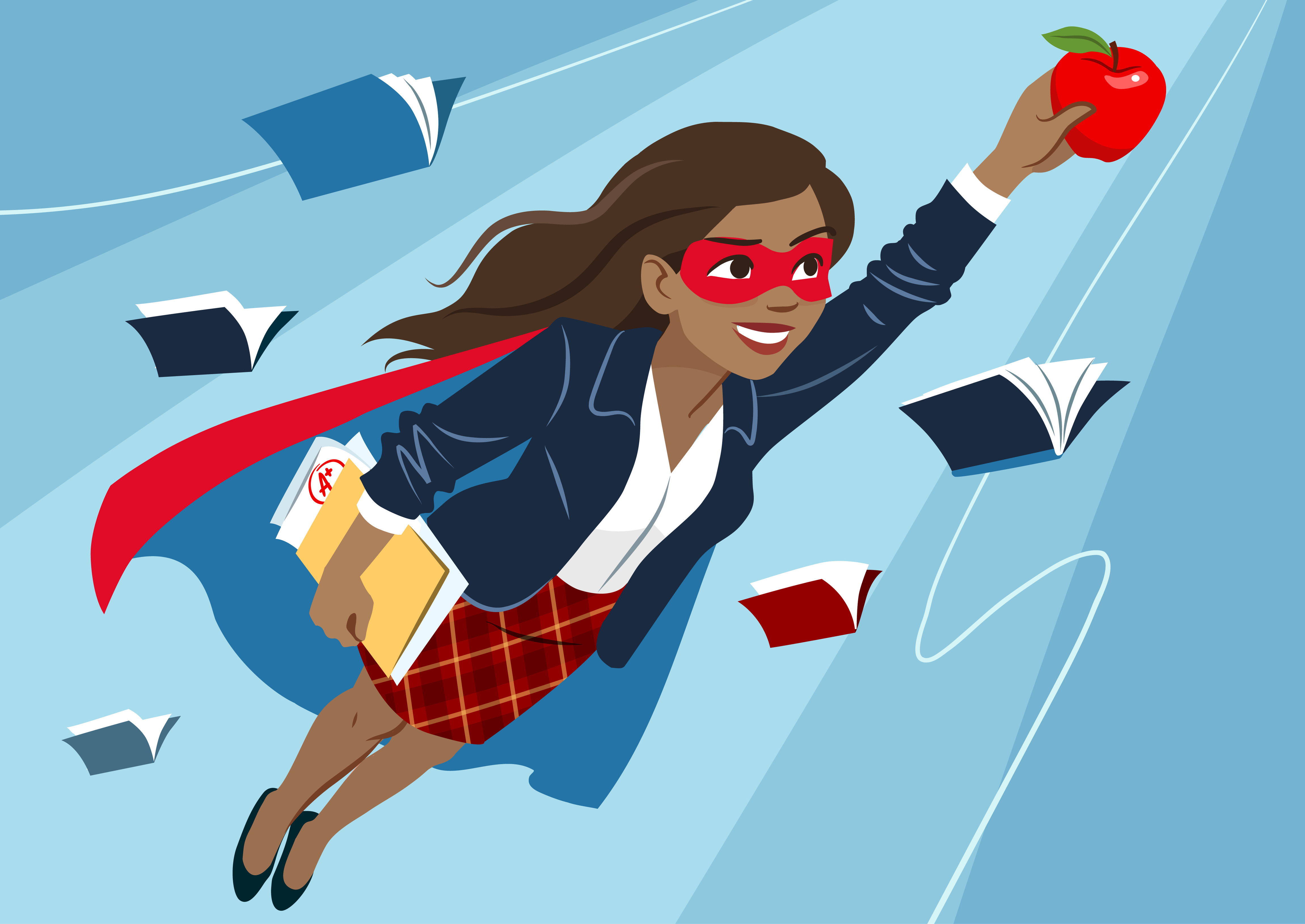 Young woman in cape and mask flying through air in superhero pose, looking confident and happy, holding an apple and folder with papers, open books around.