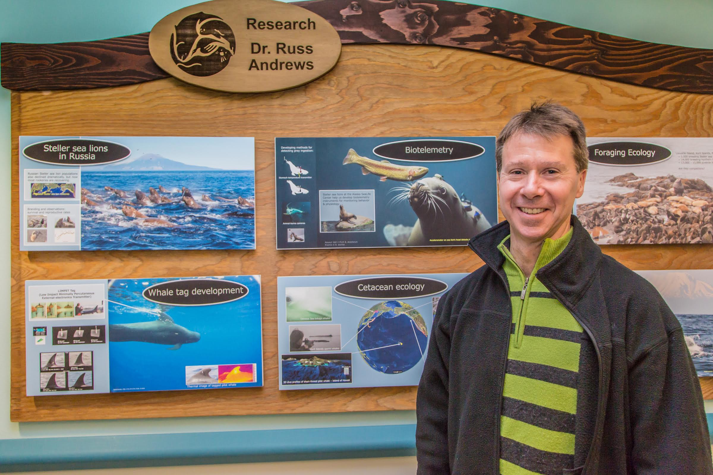 Research Assistant Professor Russ Andrews stands by one of his posters on display at the Alaska Sea Life Center in Seward.