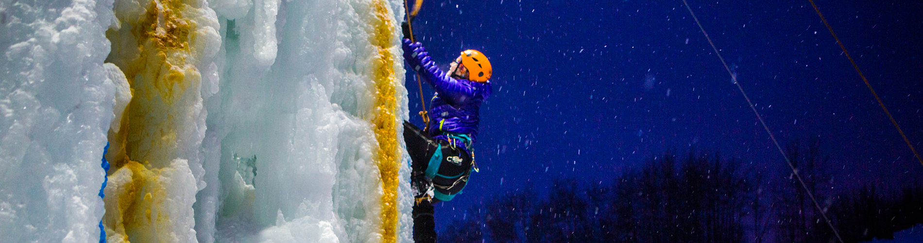 Climbing the outdoor ice wall