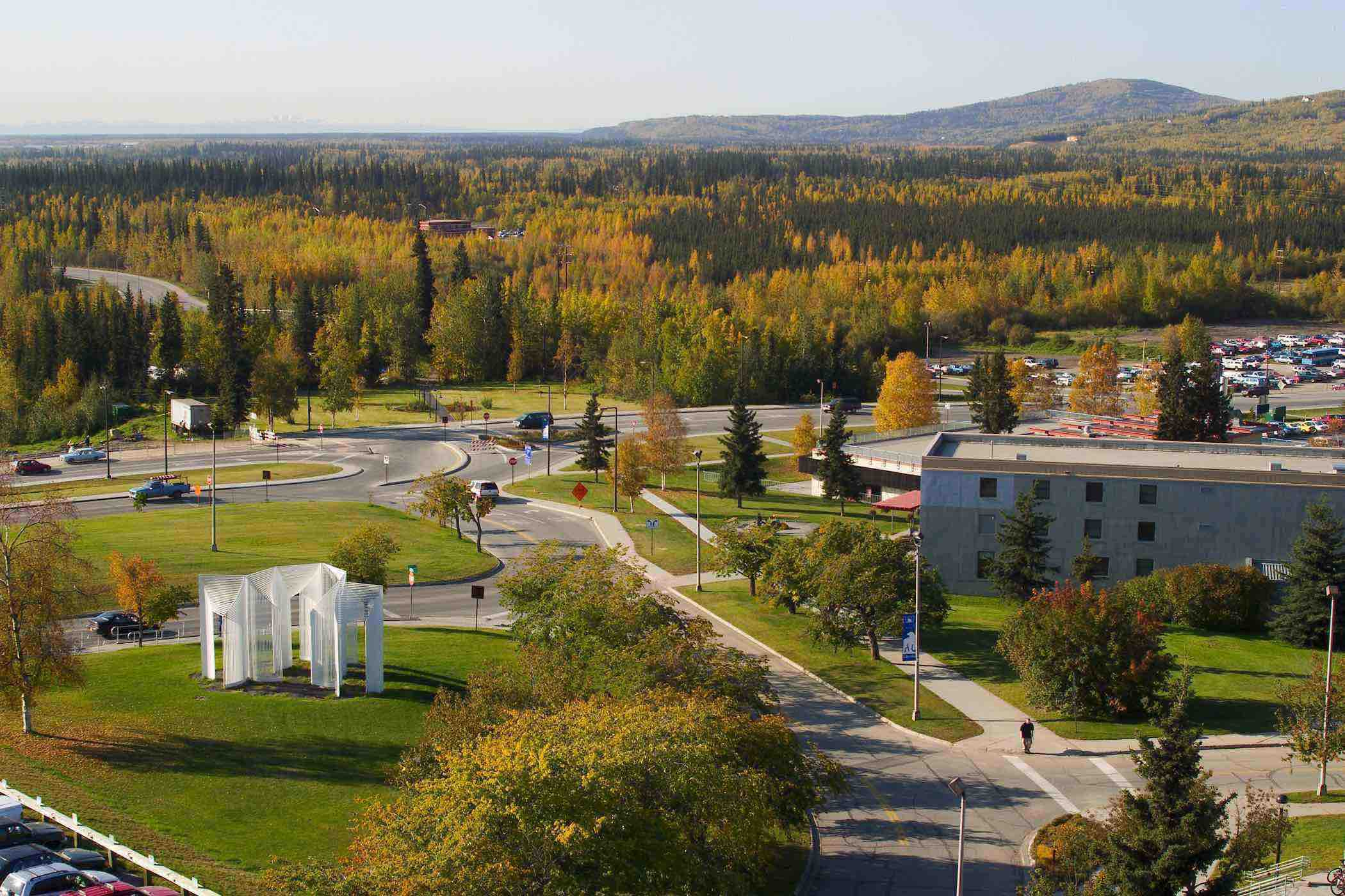 aerial fall photo of Fairbanks lower campus