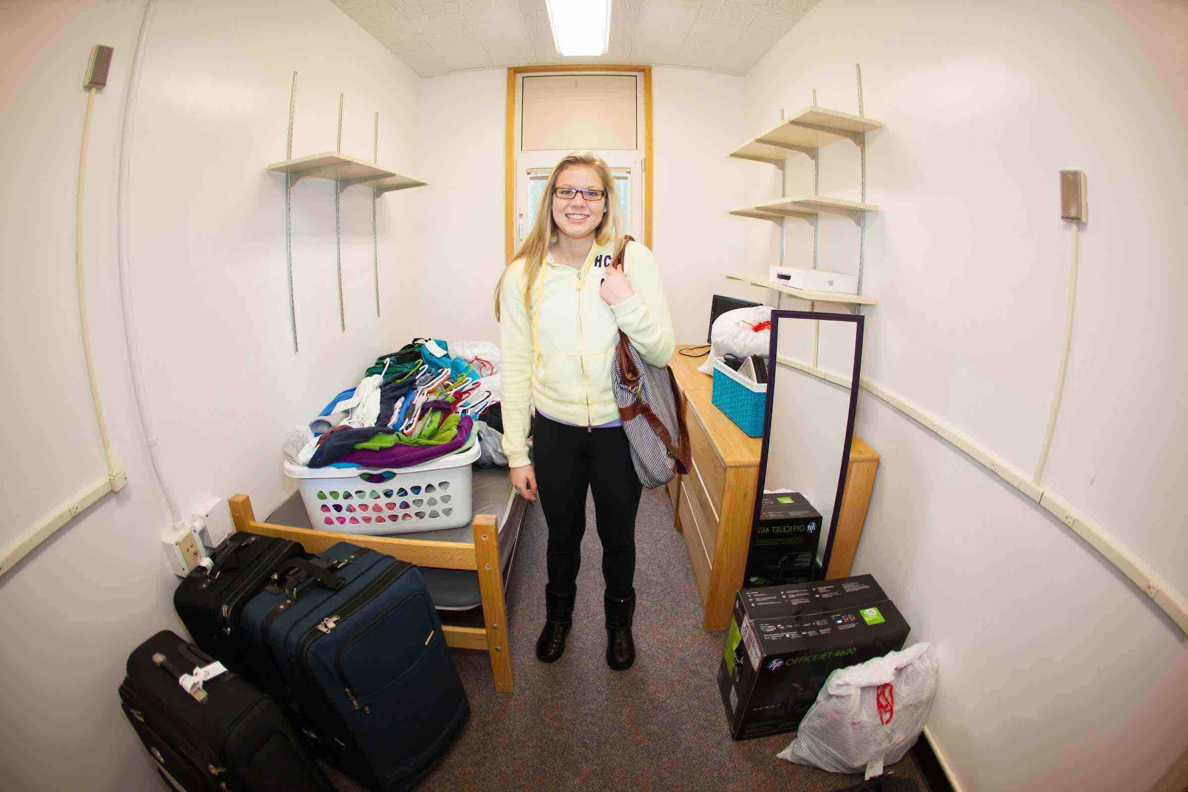 Student in new dorm room