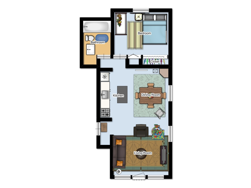 Hess 1-bedroom layout
