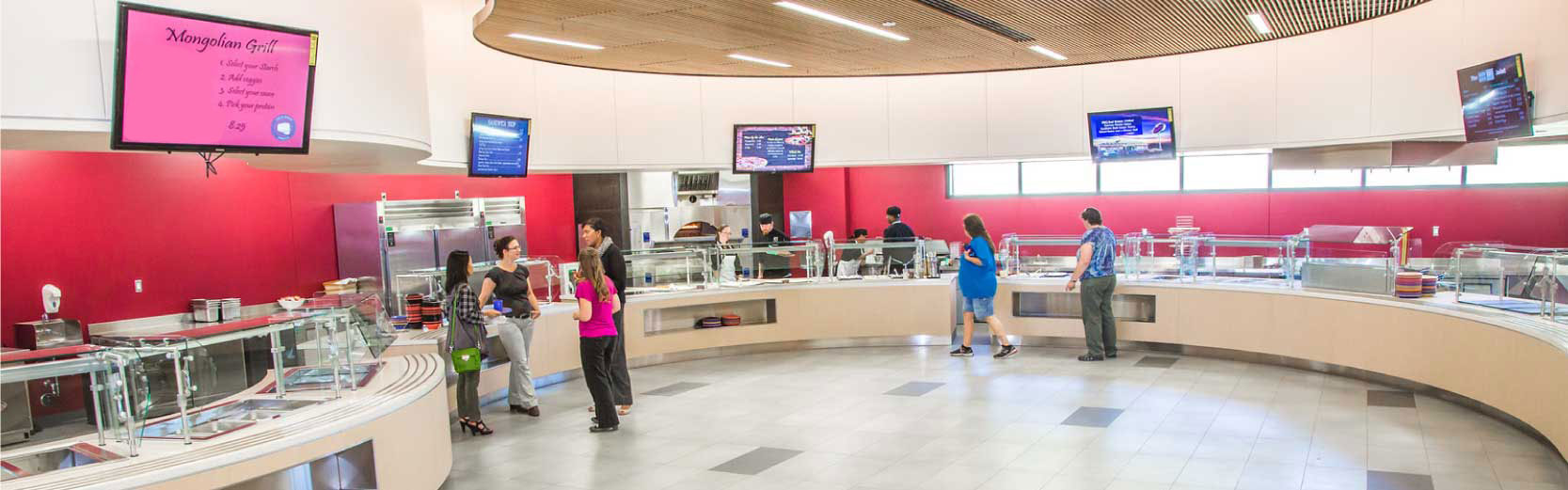 Staff and students mingle in the new Dine49 food court