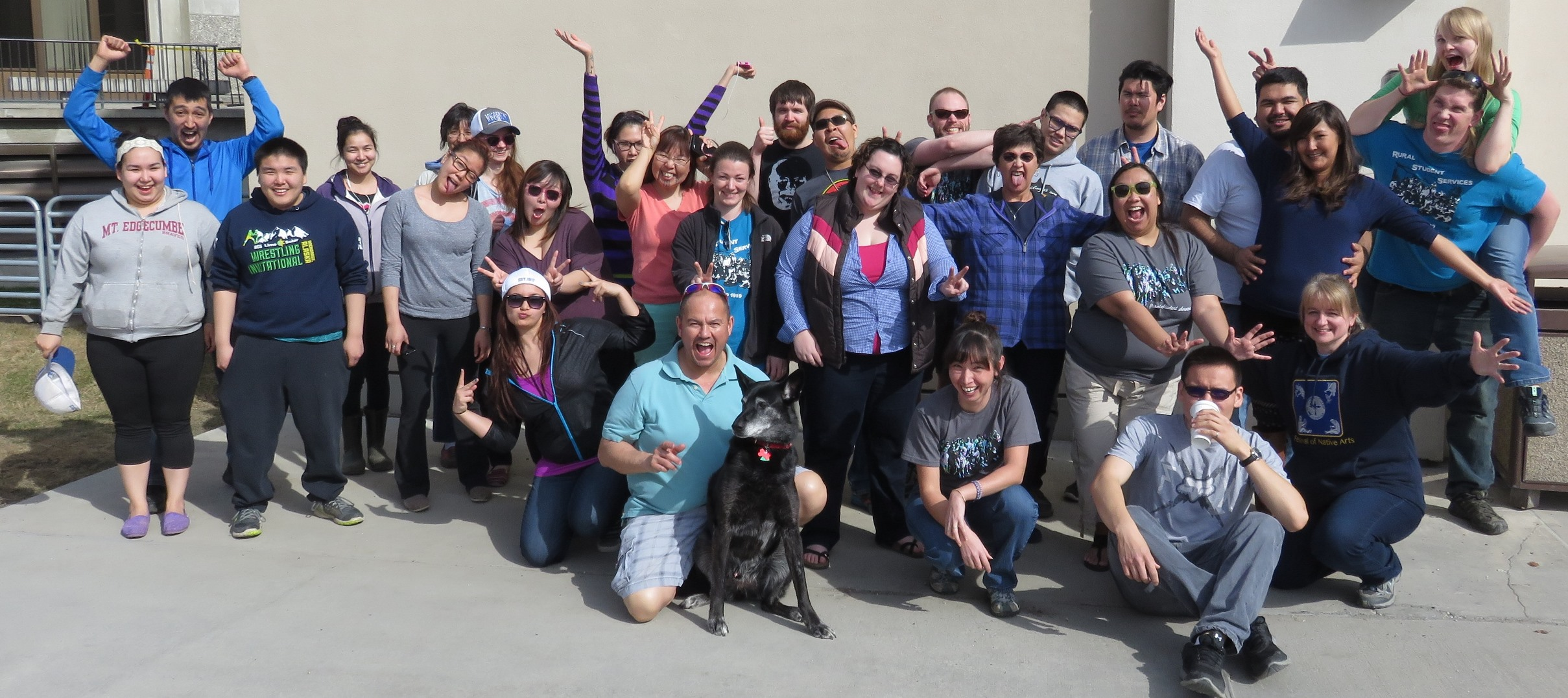 Students, staff, and faculty pose after the annual Springfest BBQ at RSS