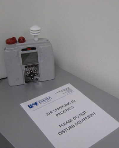 Equipment used for sampling Indoor Air Quality (carbon monoxide, carbon dioxide, temperature, humidity)