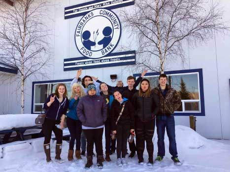 Student volunteers at the Fairbanks Community Food Bank