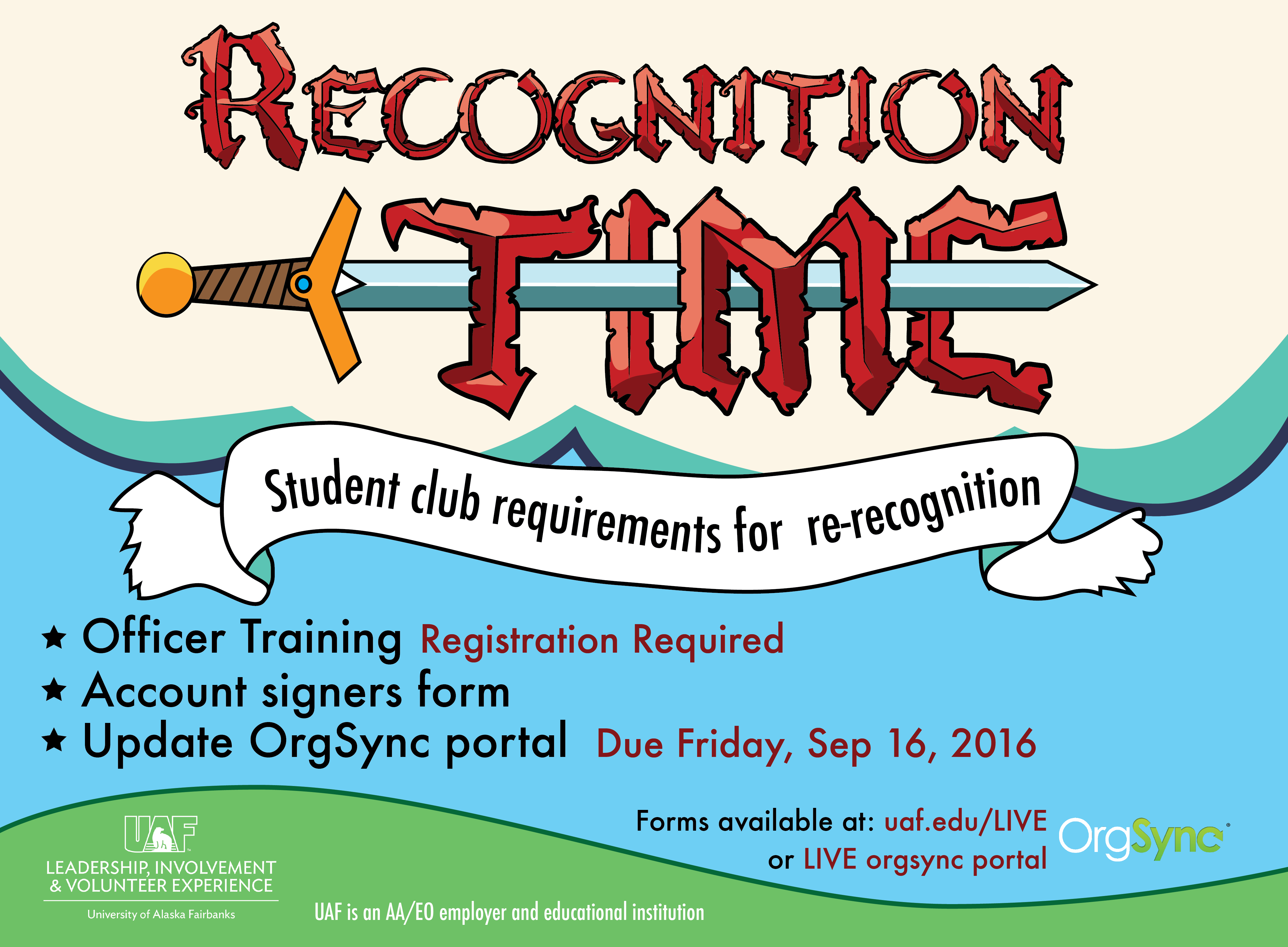 Student club re-recognition requirements - Officer training, account signers form, update OrgSync portal